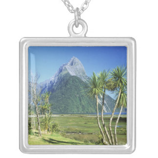 New Zealand, South Island,  Mitre Peak, Silver Plated Necklace