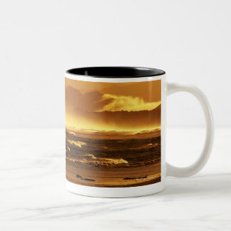 New Zealand, South Island, ocean waves and Two-Tone Coffee Mug