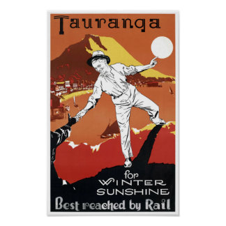 New Zealand Tauranga Vintage Poster Restored