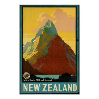 New Zealand Travel Vintage Poster