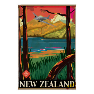 New Zealand Vintage flight Poster