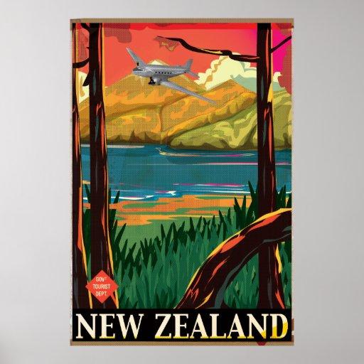 New Zealand Vintage flight Poster