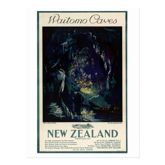 New Zealand Vintage Travel Poster Postcard