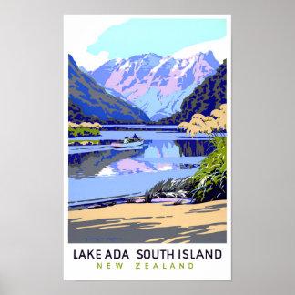 New Zealand Vintage Travel Poster Restored
