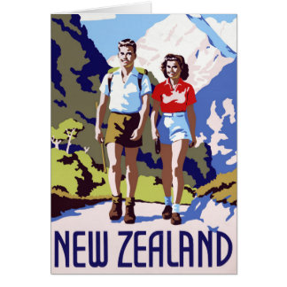 New Zealand Vintage Travel Poster Restored Card