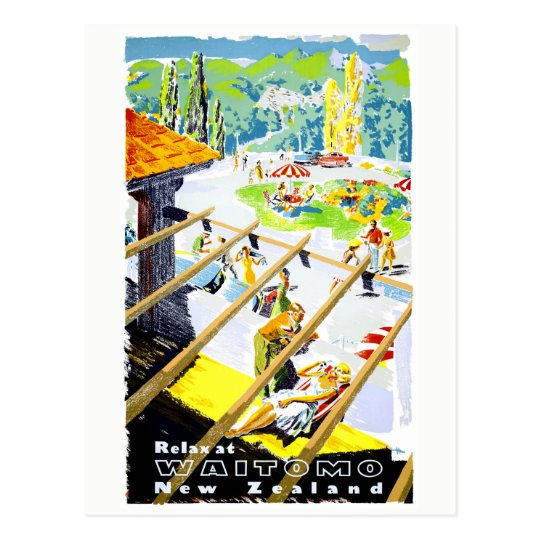 New Zealand Waitomo Vintage Travel Poster Restored Postcard