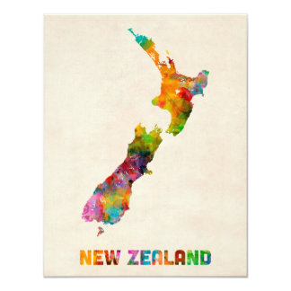 New Zealand, Watercolor Map 11 Cm X 14 Cm Invitation Card
