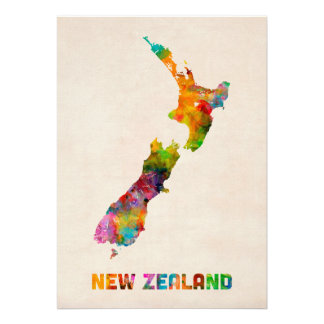 New Zealand Watercolor Map Personalized Invites