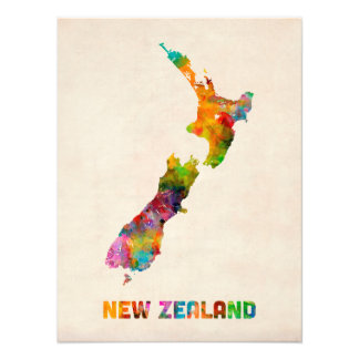 New Zealand, Watercolor Map Photo Print