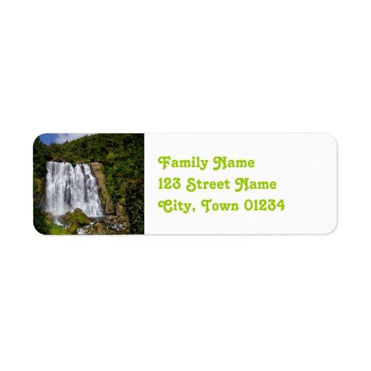 New Zealand Waterfall Return Address Label
