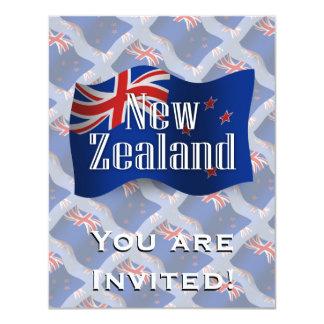 New Zealand Waving Flag 11 Cm X 14 Cm Invitation Card