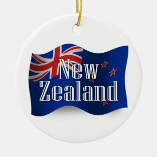 New Zealand Waving Flag Christmas Ornament