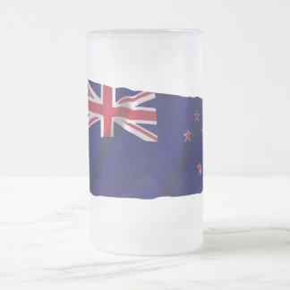 New Zealand Waving Flag Frosted Glass Mug