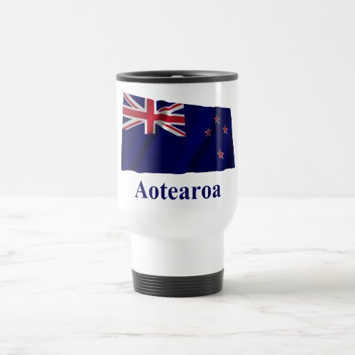 New Zealand Waving Flag with Name in Maori Coffee Mugs