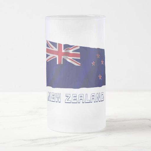 New Zealand Waving Flag with Name Mug