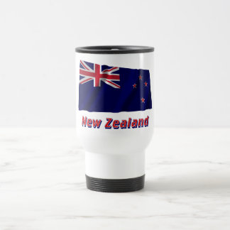 New Zealand Waving Flag with Name 15 Oz Stainless Steel Travel Mug