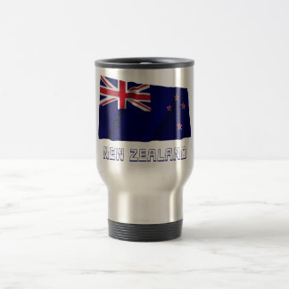 New Zealand Waving Flag with Name Stainless Steel Travel Mug