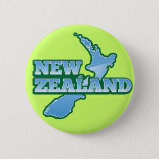 NEW ZEALAND with a map 6 Cm Round Badge