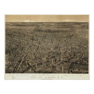 Newark New Jersey 1874 Antique Panoramic Map Poster