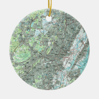 Newark NJ and Surrounding Areas Map (1986) Christmas Ornament
