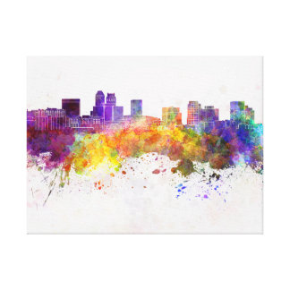 Newark skyline in watercolor background gallery wrapped canvas