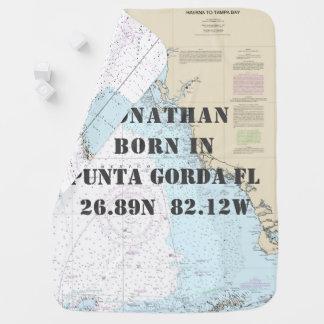 Newbord Baby Nautical Chart FL Gulf Coast Baby Blanket