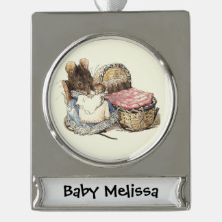 Newborn Baby and Mother Dormouse Silver Plated Banner Ornament