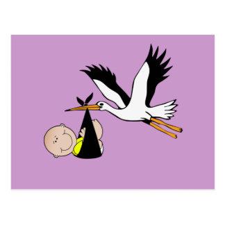 Newborn Baby and Stork Postcard