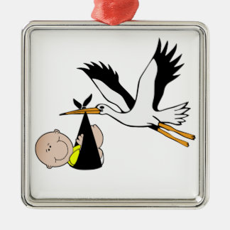 Newborn Baby and Stork Silver-Colored Square Decoration