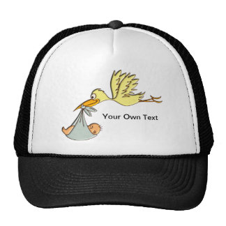 Newborn Baby Arrival - A Flying Stork Delivery Cap