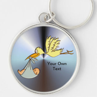 Newborn Baby Arrival - A Flying Stork Delivery Silver-Colored Round Key Ring