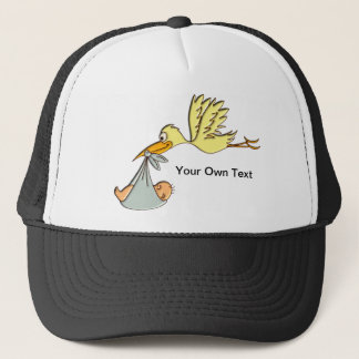 Newborn Baby Arrival - A Flying Stork Delivery Trucker Hat