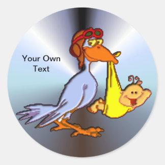 Newborn Baby Arrival - A Stork Delivery Round Sticker