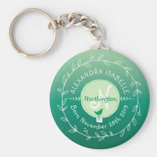 Newborn Baby Bird Monogram Ombre Green Leaf Wreath Basic Round Button Key Ring