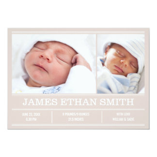 Newborn Baby Birth Announcement Beige Photo Card