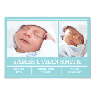 Newborn Baby Birth Announcement Blue Photo Card