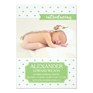 Newborn Baby Birth Announcement Green Photo Card