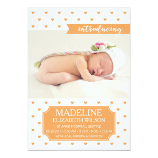 Newborn Baby Birth Announcement Orange Photo Card
