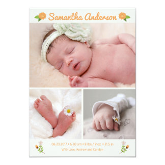 Newborn Baby Birth Announcement Photo Card