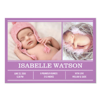 Newborn Baby Birth Announcement Purple Photo Card
