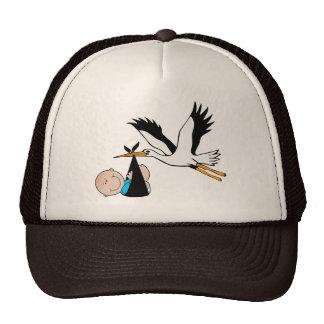 Newborn Baby Boy and Stork Mesh Hat