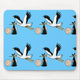 Newborn Baby Boy and Stork Mouse Pad