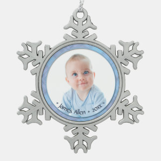 Newborn Baby Boy Commemorative Keepsake Dated Snowflake Pewter Christmas Ornament