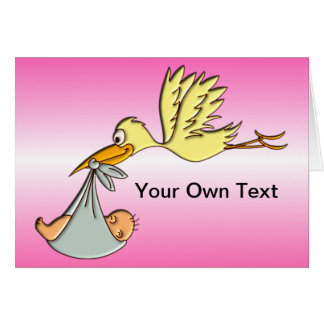 Newborn Baby Girl - A Flying Stork Delivery Card