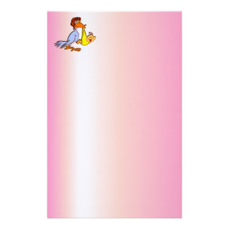 Newborn Baby Girl Arrival - A Stork Delivery Personalized Stationery