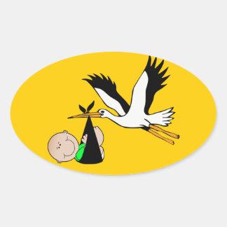Newborn Baby & Stork Oval Sticker