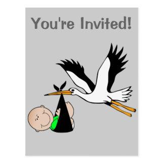 Newborn Baby & Stork Postcard