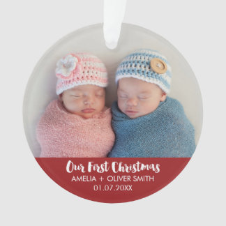 Newborn Baby Twins Photo Holiday Ornament