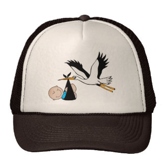 Newborn Boy and Stork Cap