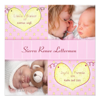 Newborn Girl with Sibling Photo Birth Announcement